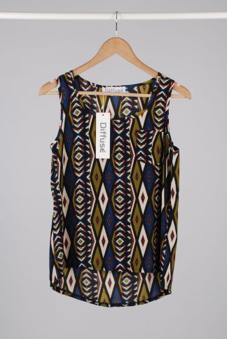 Diffuse Geometric Pattern Cami Top - Size 10 - Front