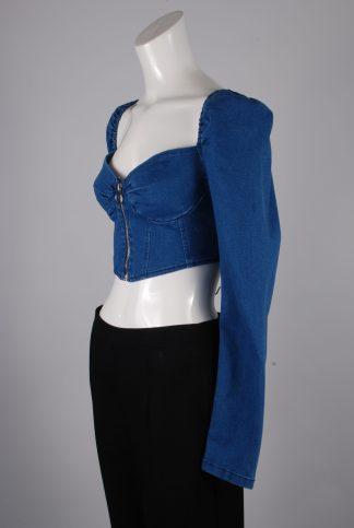 Blue Denim Look Crop Top - Size M - Side