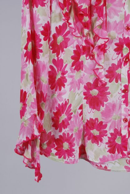 Per Una Pink & Green Floral Blouse - Size 8 - Front Hem