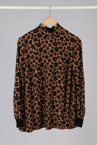 Hobbs Animal Print High Neck Blouse - Size 10 - Front
