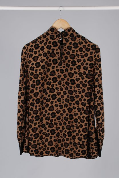 Hobbs Animal Print High Neck Blouse - Size 10 - Back