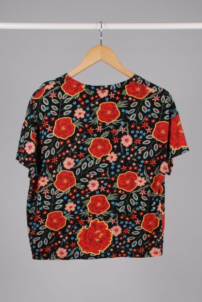 Zara Floral Print Cropped Tee - Size S - Back