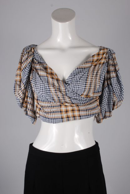 Nasty Gal Check Pattern Crop Top - Size 8 - Front