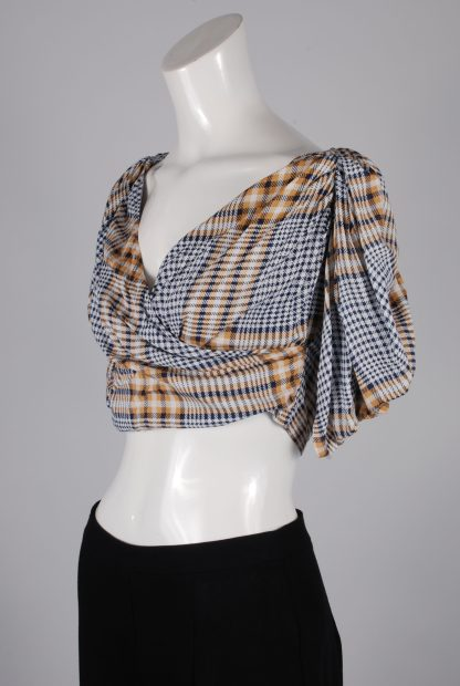 Nasty Gal Check Pattern Crop Top - Size 8 - Side