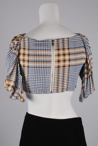 Nasty Gal Check Pattern Crop Top - Size 8 - Back