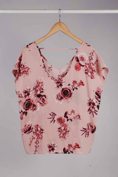 Pink Rose Pattern Top - Size 10 - Back