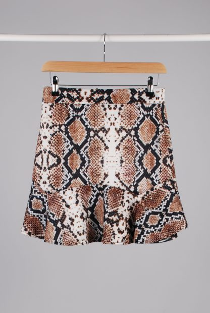Pretty Little Thing Animal Print Mini Skirt - Size 12 - Front