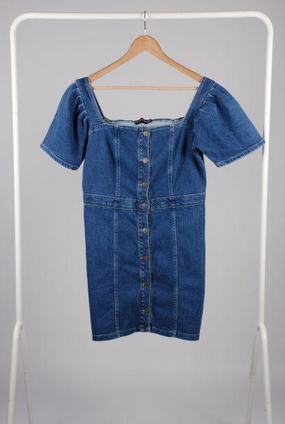 Pretty Little Thing Blue Denim Mini Dress - Size 10 - Front