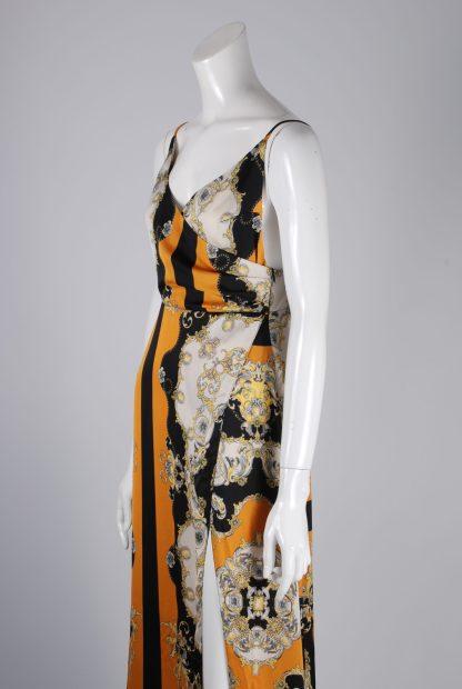 Nasty Gal Baroque Pattern Split Maxi Dress - Size 10 - Side