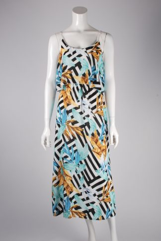 Boohoo Leaf Pattern Tiered Maxi Dress - Size 8 - Front