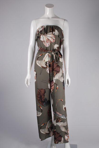 Quiz Flower & Bird Pattern Jumpsuit - Size S - Front