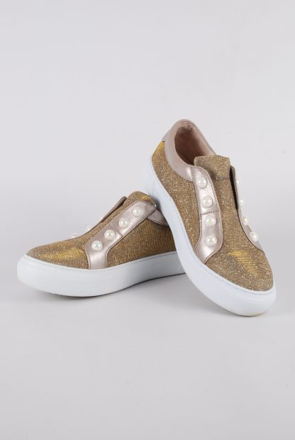 Gabor Gold Tone Shimmering Trainers - Size 5 - Front
