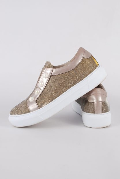 Gabor Gold Tone Shimmering Trainers - Size 5 - Side