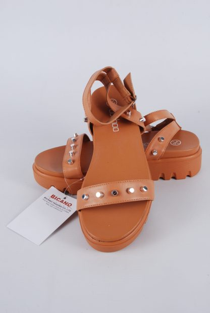 Boohoo Brown Studded Chunky Sandals - Size 4 - Front