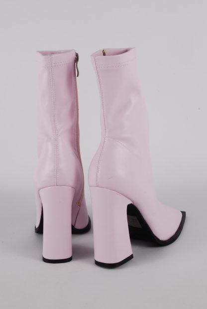 Nasty Gal Pink Block Heel Sock Boots - Size 5 - Back
