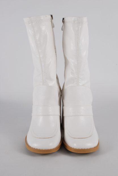 Koi White Block Heel Sock Boots - Size 5 - Front Detail