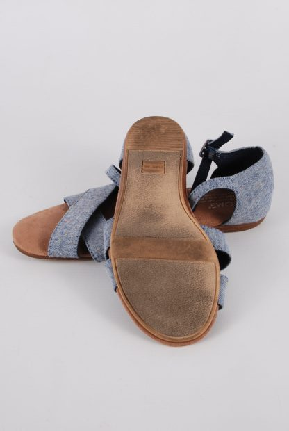Toms Blue Crossover Sandals - Size 3 - Sole
