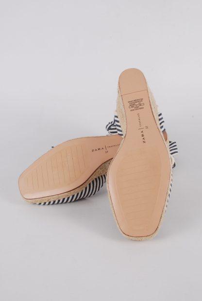 Zara Blue & Cream Striped Slingback Wedges - Size 5 - Sole