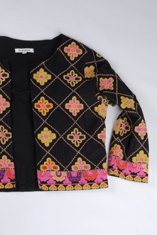 Glamorous Embroidered Cropped Jacket - Size S - Front Detail