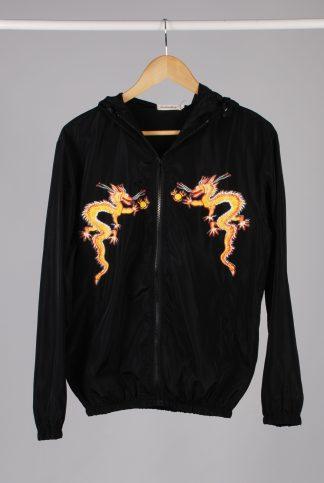 Black Dragon Decal Windbreaker Jacket - Size M/L - Front