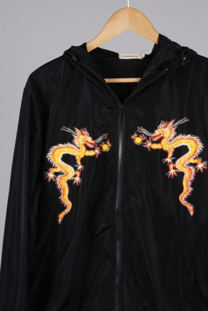 Black Dragon Decal Windbreaker Jacket - Size M/L - Front Detail