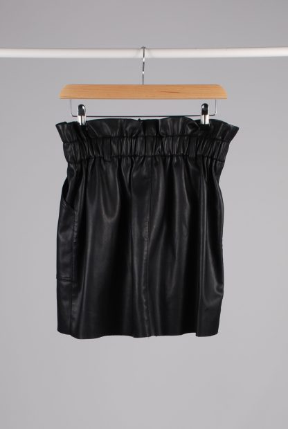 River Island PU Paperbag Mini Skirt - Size 14 - Back