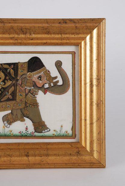 Framed Indian Silk Elephant Painting - Head Detail