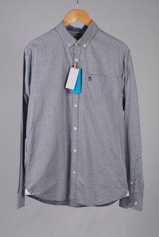 Penguin Grey & White Striped Shirt - Size M - Front