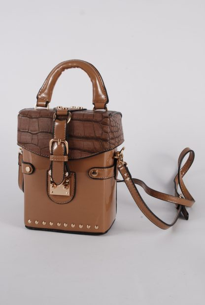 Brown PU Box Bag - Front