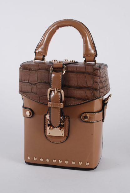 Brown PU Box Bag - Front Detail