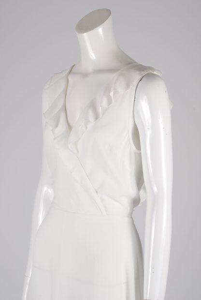 AX Paris White Plunge Maxi Dress - Size 8 - Side Detail