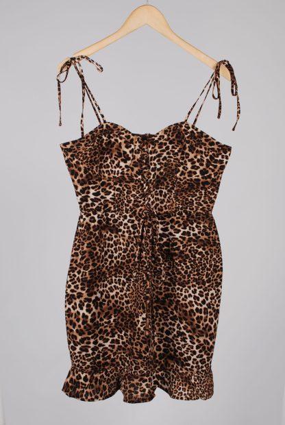 Boohoo Animal Print Strappy Mini Dress - Size 14 - Front