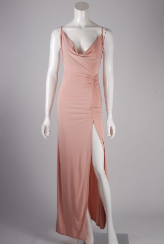 Nastygal Pink Ruched Bodycon Dress - Size 10 - Front