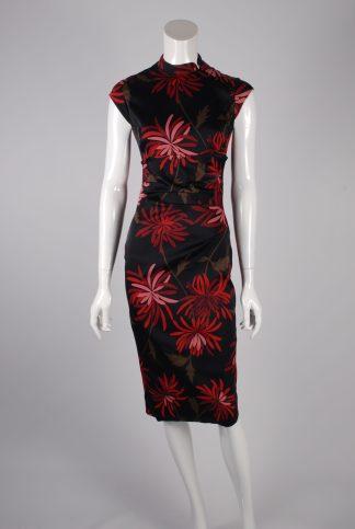 Karen Millen Mandarin Collar Pencil Dress - Size 10 - Front