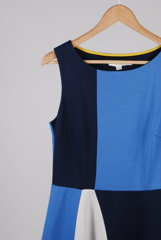 Boden Blue & Yellow Panel A-Line Dress - Size 12 - Front Detail