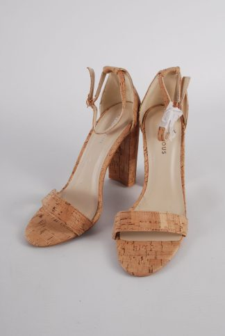 Glamorous Cork Style Strappy Heels - Size 5 - Front