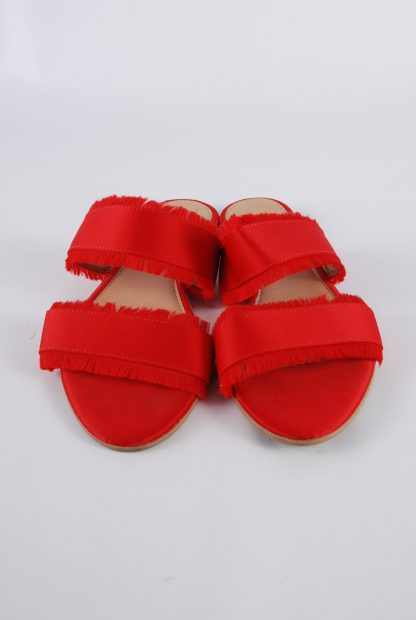 Pieces Red Fringed Slip On Sandals - Size 5 - Front Detail