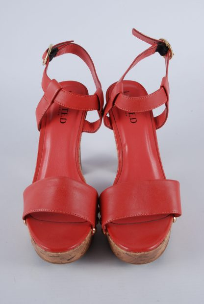 Limited Collection Red Cork Sole Sandals - Size 4.5 - Front Detail