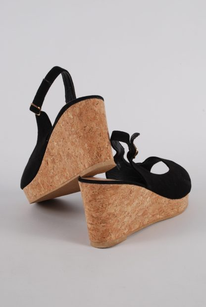 Simply Be Black Wedge Sandals - Size 7 - Back