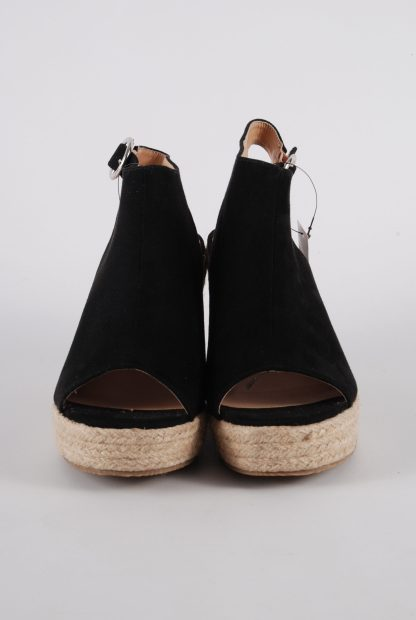 Simply Be Black Wedge Sandals - Size 4 - Front Detail