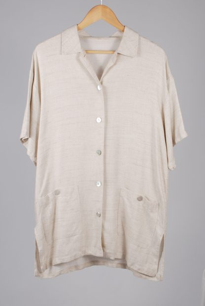 Oversized Beige Tunic Top - Size 10 - Front