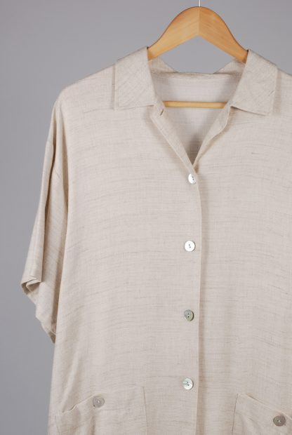Oversized Beige Tunic Top - Size 10 - Front Detail