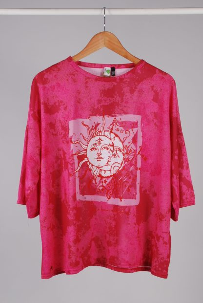 Boohoo Recycled Sun Motif Oversized Tee - Size 10 - Front