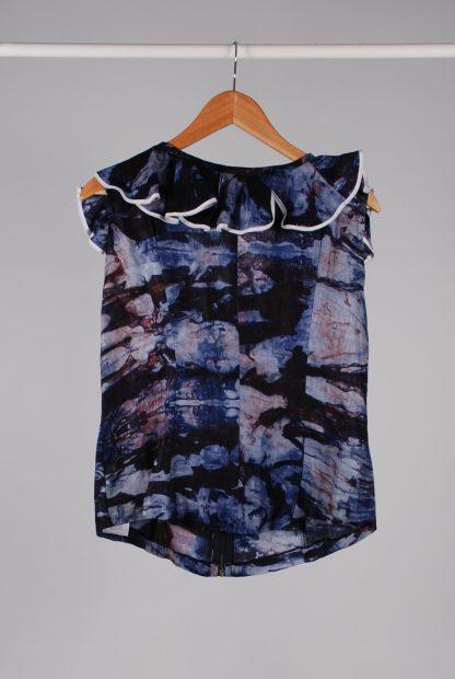 Blue & Purple Ruffle Sleeveless Top - Size 16 - Back