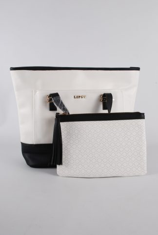 Lipsy Black & White Handbag - Front