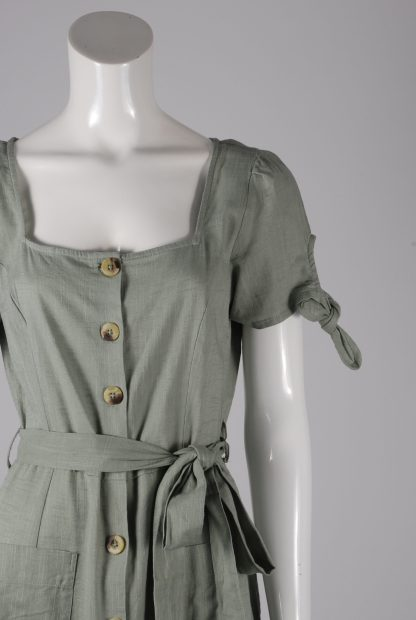 Primark Green Button Front Dress - Size 12 - Front Detail