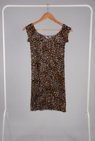 Diffuse Animal Print Shirred Dress - Size 8 - Front