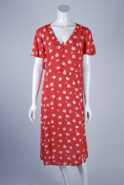 Red and White Floral Tea Dress - Size 10 - Front