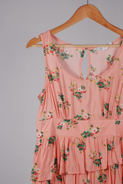 New Look Pink Floral Dress - Size 12 - Front Detail
