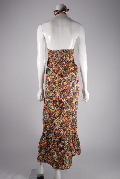 Flower & Paisley Halter Neck Maxi Dress - Size M - Back